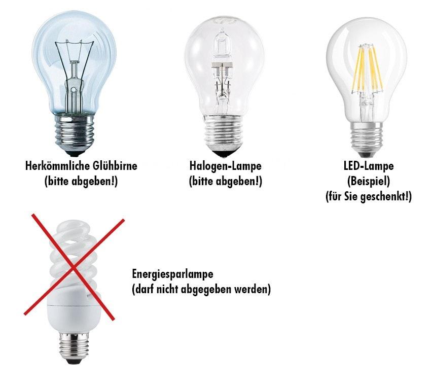 Lampenvarianten Glühbirnentausch-Wette