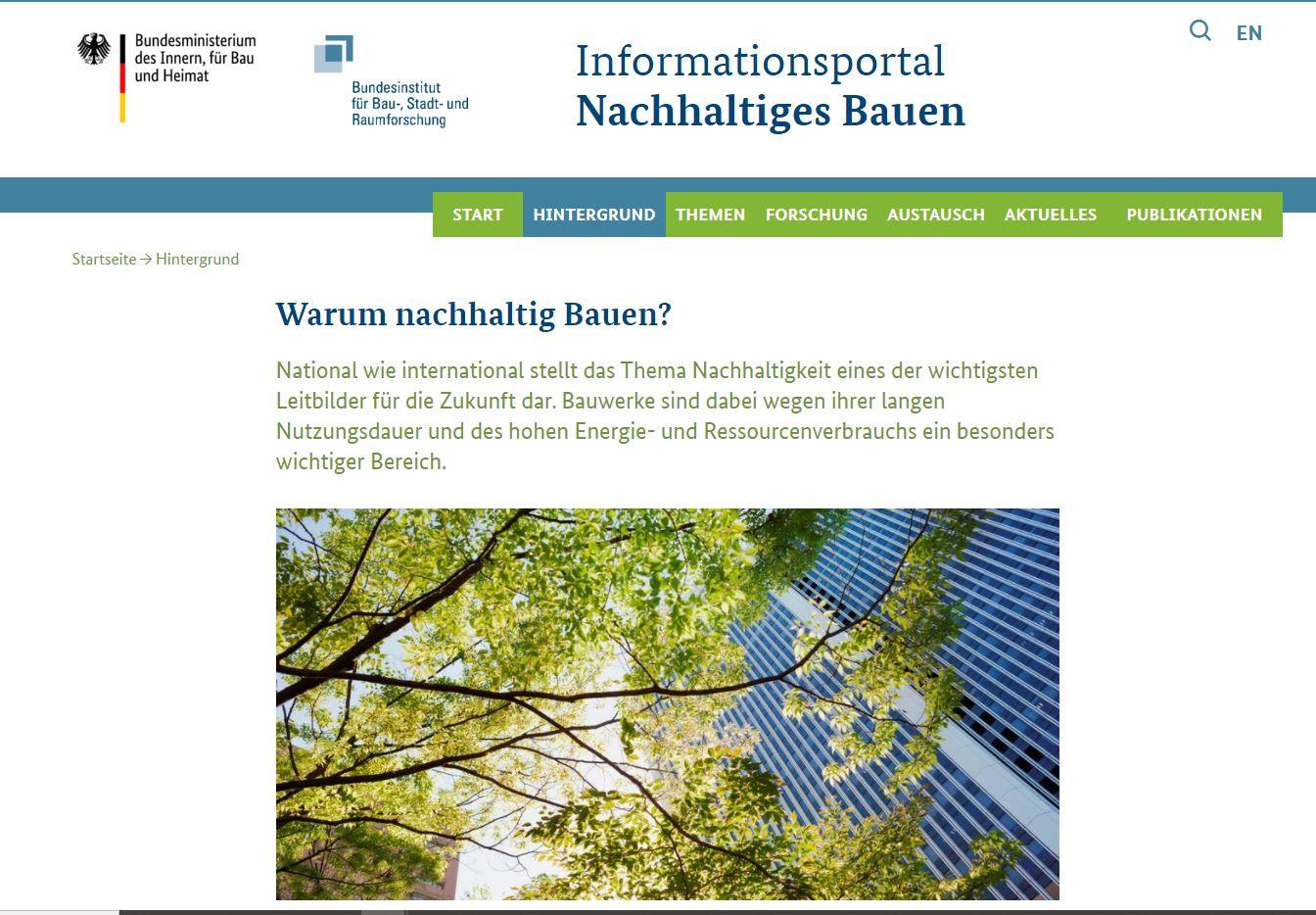 Informationsportal Nachhaltiges Bauen